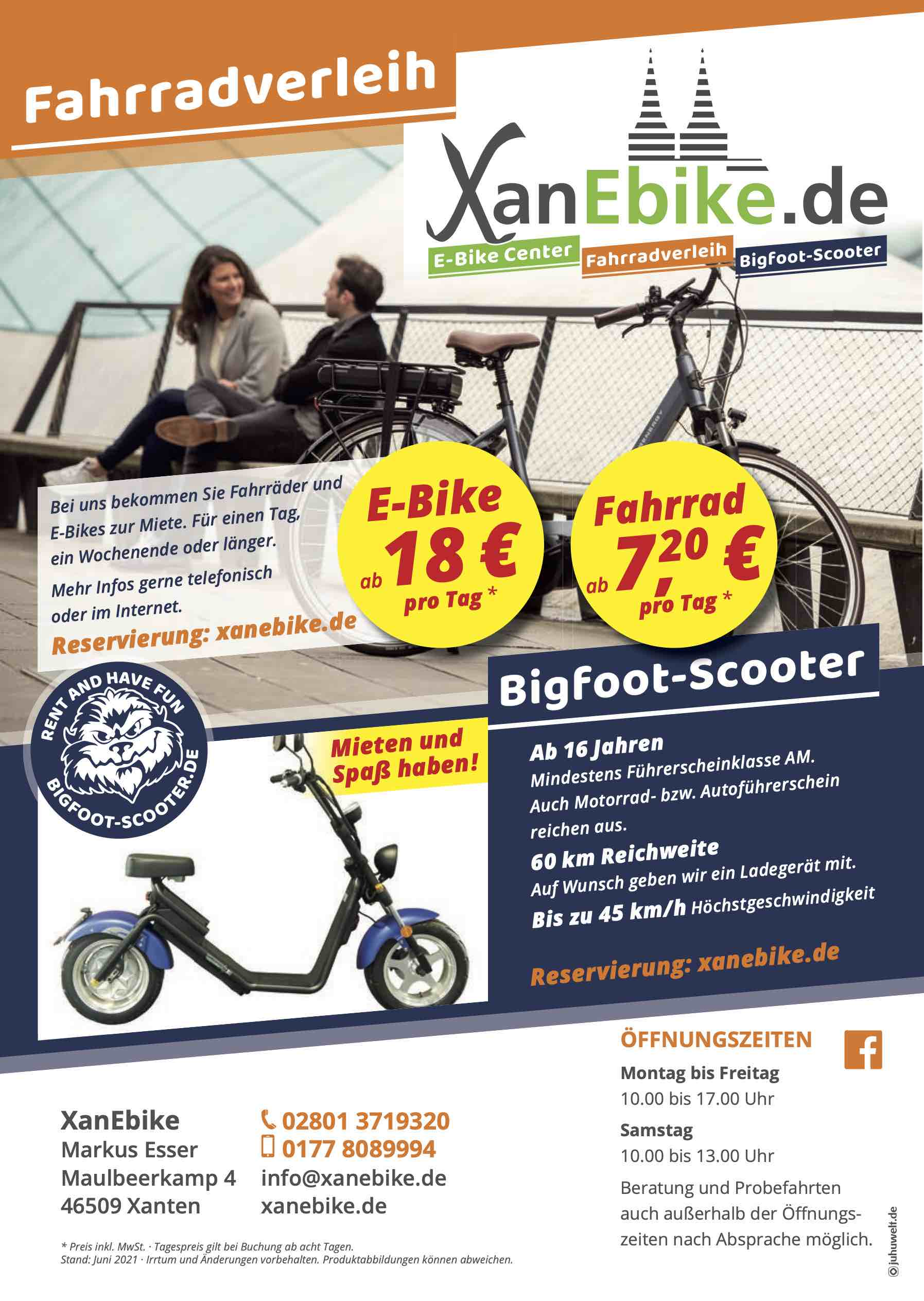 Fahrradverleih Scooter-Verleih Xanten